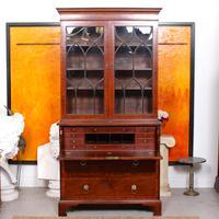 Secretaire Bureau Bookcase Astragal Glazed Mahogany (17 of 17)