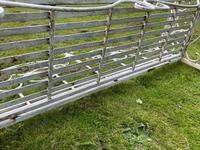 Large French Art Deco Style Fleur De Lis Garden Double Bowed  Curved Bench Seats 3 (26 of 37)
