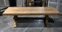 Large French Bleached Oak Trestle Farmhouse Dining Table (3 of 16)