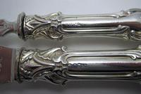 Ornate Antique Victorian Solid Sterling Silver Fish Servers, Serving Knife+Fork, English Hallmarked (8 of 11)