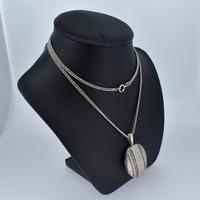 Antique Aesthetic Large Sterling Silver Locket with Long Curb Chain Necklace (4 of 11)