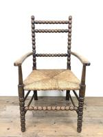 Antique Child's Bobbin Chair with Rush Seat (3 of 10)