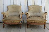 Pair of French Tub Armchairs for re-upholstery (2 of 9)