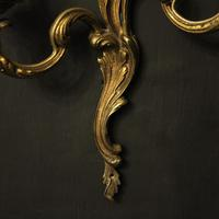 French Gilded Brass Twin Arm Antique Lights (9 of 10)