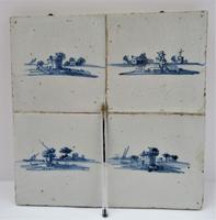 Panel of four Dutch Delft landscape tiles, c1750 (4 of 9)