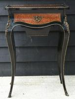 Fine Quality 19th Century French Ebonised & Amboyna Serpentine Sewing Table (2 of 21)
