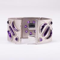 Vintage Retro Platinum and 40 Carat Amethyst Bracelet and Earring Suite c.1960 (10 of 10)
