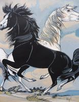 Watercolour & Ink Study of Stallions Artist Vigil