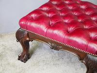 George III Style Mahogany and Leather Upholstered Centre Stool (8 of 8)
