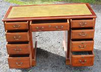 1960s Yew Wood Pedestal Desk and Green Leather Top (2 of 4)
