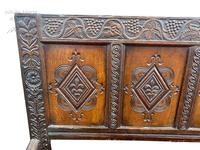 Exceptional Large Antique Carved 18th Century English Oak Settle, Hall Seat, Pew (7 of 10)