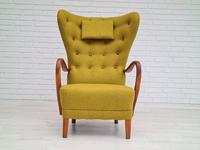 Danish Design, 1960s, Restored-reupholstered High-backed Armchair, Furniture Wool (6 of 13)