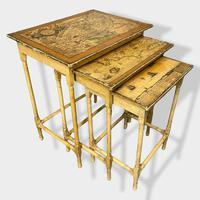 Italian Painted Nest of Tables with Map Prints