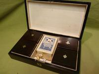 French Inlaid Rosewood Games Box + Accessories c.1880 (3 of 11)