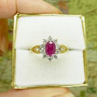 Vintage 18ct gold oval ruby & diamond cluster ring ~ Valentine proposal (6 of 10)