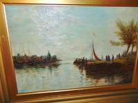 Edwardian oil painting. Harbour scene  1909 (6 of 6)