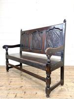 Antique Carved Oak Settle Bench (8 of 10)