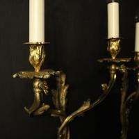 French Pair of Bronze Antique Wall Gasoliers (2 of 10)