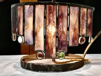 French Arts and Crafts Amethyst Leaded Glass Table Lamp (3 of 8)