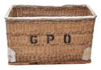 Vintage large strong cane and pig skin log or storage basket (6 of 8)