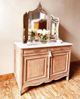 French Antique Washstand / Sideboard / Cupboard Vanity with Marble (2 of 7)