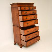 Antique Burr Elm Chest on Chest of Drawers (4 of 10)
