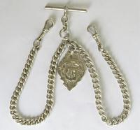Antique Silver Double Pocket Watch Chain