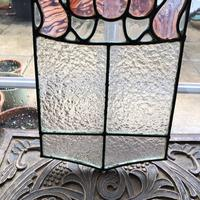Antique Stained Glass Panel with Pink Glass Detail (4 of 10)