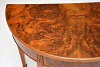Antique Burr Walnut Demi Lune Console Table (5 of 8)