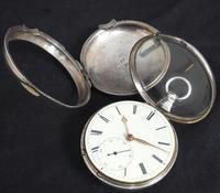 Antique Silver Pair Case Pocket Watch Fusee Escapement Key Wind Enamel Dial John Bernard London Liverpool (3 of 12)