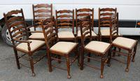 1960s Set of 8 Ash Ladderback Dining Chairs - 2 Carvers + 6 Chairs (2 of 4)