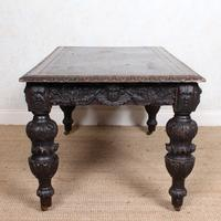 Carved Oak Desk Library Table Gothic Jacobean Large 19th Century (14 of 18)