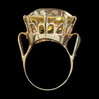Vintage Citrine Cocktail Ring 9ct Gold Large 35ct Citrine Dated 1974 (3 of 6)
