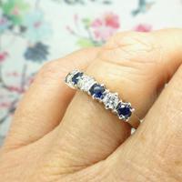 Vintage 18ct white gold Sapphire & Diamond seven stone ring (5 of 10)