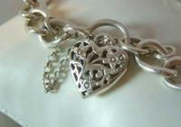 "Vintage Sterling Silver Bracelet 1976 Puffy Heart Padlock 6 1/2"" Length 21.8 Grams (7 of 12)"