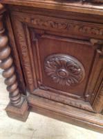 19th Century French Solid Oak Gothic Oak Revival Marble Top Washstand (8 of 9)