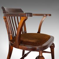 Antique Captain's Chair, English, Mahogany, Armchair, Seat, Edwardian c.1910 (2 of 12)