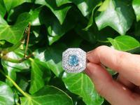 2.11ct Aquamarine & 2.22ct Diamond, 18ct White Gold Dress Ring - Vintage c.1950 (2 of 9)