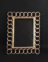 Victorian Brass Chain link / Wedding Ring Easel Photo Frame