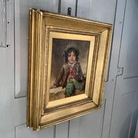 Antique Victorian oil painting portrait of young boy in hat signed JW Roberts 1887 (3 of 10)