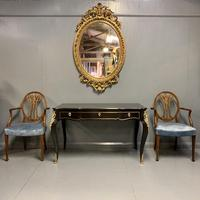 French black lacquer and brass bureau plat (4 of 11)