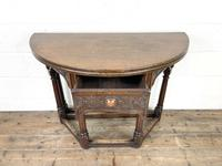 Carved Oak Fold-over Demi Lune Table (4 of 10)