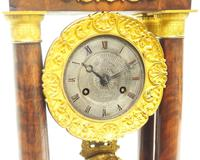 Fine Antique Flame Mahogany Mantel Clock French Striking Portico Mantle Clock (6 of 13)