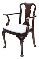 Set of 8 Mahogany Dining Chairs Queen Anne revival c.1910 (9 of 11)