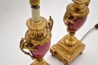 Pair of Antique French Porcelain & Gilt Metal Table Lamps (12 of 12)