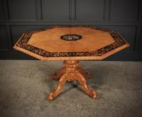 Rare Birds Eye Maple Octagonal Marquetry Inlaid Centre Dining Table (8 of 8)