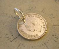 Vintage Pocket Watch Chain Fob 1941 WW2 Lucky Silver Three Pence Old 3d Coin Fob (5 of 6)