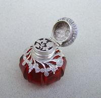Rare Victorian Silver Mounted Cranberry Glass Vinaigrette c.1890 (5 of 7)