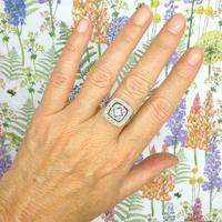 Authentic Art Deco Platinum Rose Cut Diamond & Sapphire Cluster Ring c.1920 (9 of 11)