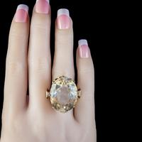 Vintage Citrine Cocktail Ring 9ct Gold Large 35ct Citrine Dated 1974 (4 of 6)